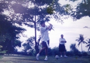 Ricky teeing off in Hole #4 of the Old Course. Beside him is the late Glen B.