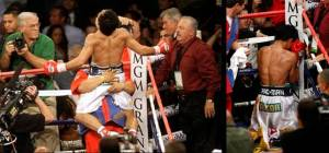 As soon as Referee Kenny Bayless declared Pacquiao the winner, Pacman jumped into his handlers' arms and prayed in a neutral corner