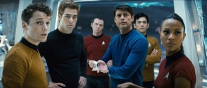 Cast of Star Trek 2009. Chekov, Kirk, Scotty,McCoy,Sulu, Uhura