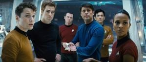 Cast of Star Trek 2009. Chekov, Kirk, Scotty,McCoy,Sulu, Uhura