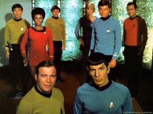 Star Trek 1960's. In front are Kirk and Spock, Sulu, Uhura, Chekov,Nurse Chapel,McCoy, Scotty
