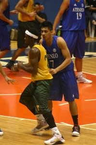 "Noy Baclao had his hands full defending FEU's ""import."""