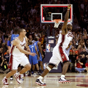 Lebron celebrates. Too bad, maybe next year.